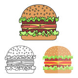 Hamburger with meat, lettuce and cheese. Royalty Free Stock Photos