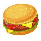 Hamburger with meat, lettuce, cheese, onion and tomato Royalty Free Stock Image