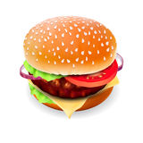 Hamburger with meat, lettuce, cheese and tomato. Hamburger with meat isolated on white, vector Eps10 image Stock Photo