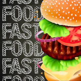 Hamburger with meat, lettuce, cheese and tomato. Hamburger with meat, vector Eps10 illustration Stock Photography
