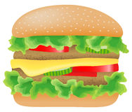 Hamburger with meat, lettuce, cucumber,cheese and  Royalty Free Stock Photos