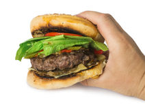 Hamburger with meat and lettuce Stock Photos