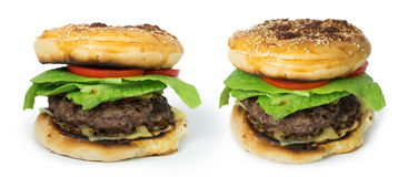 Hamburger with meat and lettuce Stock Photography