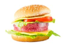 Hamburger with meat in a petri dish representing in-vitro meat. It is already possible to grow meat from cells taken from animals without the need to sacrifice stock photography