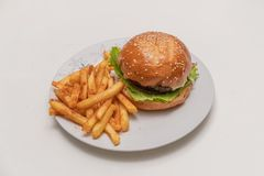 Hamburger with meat, tomato, lettuce and french fries. Royalty Free Stock Photos