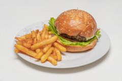 Hamburger with meat, tomato, lettuce and french fries. Royalty Free Stock Images