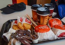 Hamburger menu in McDonalds restaurant royalty free stock photos