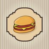 Hamburger menu. Retro Cover for Fast Food Menu - hamburger on vintage background - vector illustration Stock Images