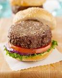 Hamburger met broodje weg aan partij, die op waspap zit stock fotografie