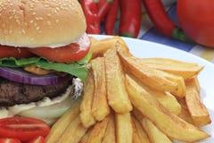 Hamburger met Frieten Stock Afbeeldingen