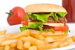 Hamburger met gebraden gerechten Royalty-vrije Stock Afbeeldingen