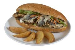 Hamburger met gebraden vissen & x28; Turkse Traditionele Balik Ekmek & x29; Stock Afbeelding