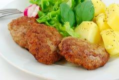 Hamburger met groente, salade Stock Foto
