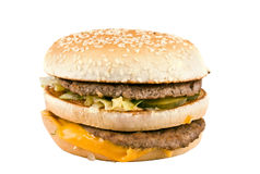 Hamburger met kaas en vlees Royalty-vrije Stock Foto