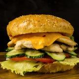 Hamburger met kip en groenten Stock Fotografie