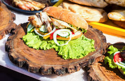 Hamburger met kippenvlees, kaas en verse groenten Stock Afbeeldingen