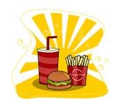 Hamburger met kop van soda en Frietenvector Snel voedsel stock illustratie