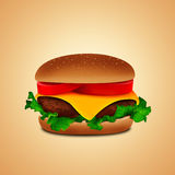 Hamburger met salade stock illustratie