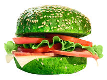 Hamburger met salade, kaas, ham en tomaten Met een weg voor het snijden Stock Afbeelding