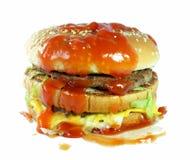 Hamburger met saus Royalty-vrije Stock Foto's