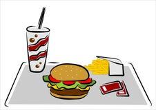 Hamburger met spaanders Royalty-vrije Stock Afbeelding