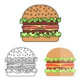 Hamburger met vlees, sla en kaas stock illustratie