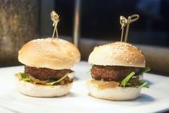 Hamburger. Mini burger Hamburger cocktail appitizers Stock Images