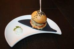 Hamburger. Mini hamburger. Perfect hamburger. Bio hamburger. Stock Photos