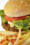 Hamburger mit Chips stockfoto