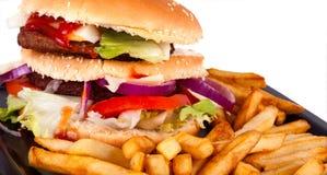 Hamburger mit den Fischrogen getrennt auf weißem Hintergrund Lizenzfreies Stockfoto