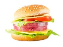 Hamburger mit Fleisch in einer Petrischale, die in-vitrofleisch darstellt Stockfotografie