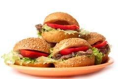 Hamburger mit Gemüse Stockbild