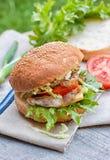 Hamburger mit Huhn und Gemüse Lizenzfreie Stockfotos
