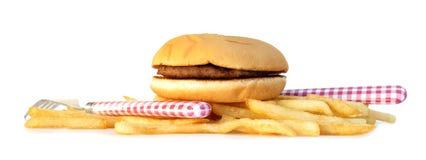 Hamburger mit Pommes-Frites Lizenzfreies Stockbild