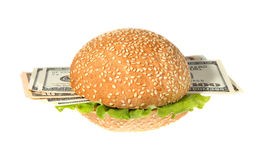 Hamburger with money Stock Images