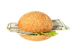 Hamburger with money Royalty Free Stock Photography
