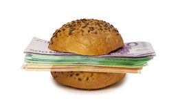 Hamburger with euros. Hamburger with money instead of meat steak Royalty Free Stock Photo