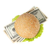 Hamburger with money on the white background Stock Photography