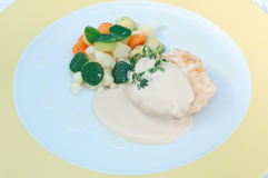 Hamburger with mustard sauce and crispy vegetables Stock Image