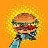 Hamburger na robot ręce royalty ilustracja