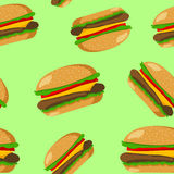 Hamburger naadloos patroon Stock Fotografie