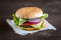 Hamburger on a napkin Stock Photo