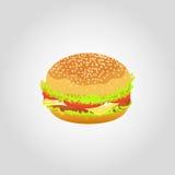 Hamburger no fundo branco Ilustração do vetor Foto de Stock Royalty Free