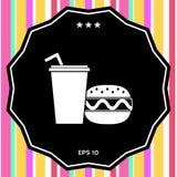 Hamburger o cheeseburger, tazza di carta con l'icona della cannuccia Fotografia Stock
