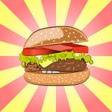Hamburger oder Burger mit Salat, Käse, Rindfleischfleischkotelett und Tomaten Karikatur-angeredeter Schnellimbiß - geschmackvolle Lizenzfreie Stockfotos