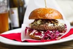 Hamburger, hamburger odizolowywający na talerzu obrazy royalty free