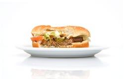 Hamburger On A Plate Stock Image