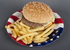 Hamburger On Paper Plate America Style Royalty Free Stock Photography