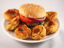 Hamburger and onion rings Stock Images