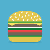 Hamburger op blauwe achtergrond Vector Illustratie